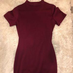 Maroon Bodycon Dress (open back)